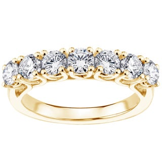 14k Yellow Gold 1 1/2ct TDW Brilliant Cut Braided 7-diamond Wedding Band (F-G, SI1-SI2)