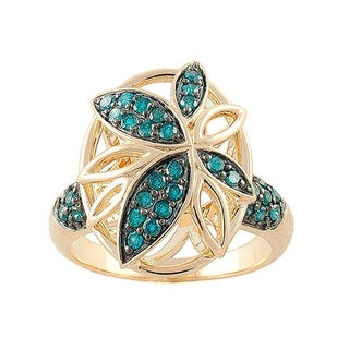 Bevery Hills Charm 14k Yellow Gold 1/2ct TDW Blue Diamond Floral Ring