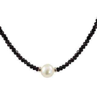 Pearls For You Sterling Silver White Freshwater Pearl and Faceted Necklace (8.5-9 mm)