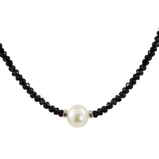 Pearls For You Sterling Silver White Freshwater Pearl and Faceted Black Onyx Necklace (8.5-9 mm)