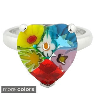 Plutus Sterling Silver Millefiori Glass Heart Ring
