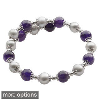 Pearls For You Sterling Silver Dyed Freshwater Pearl and Gemstone Cuff Bracelet (7-8 mm)