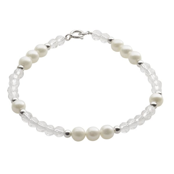 Pearls For You Sterling Silver White Freshwater Pearl, Crystal and Silver Bead Bracelet (5-6 mm)