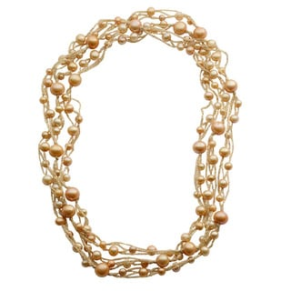 Pearls For You Champagne Freshwater Potato Pearl and Gold Thread Necklace (5-6 mm, 6-7 mm, 9-10 mm)