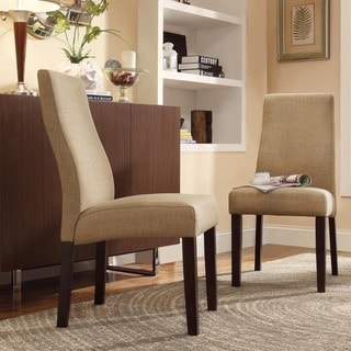 Inspire Q Kiess Mocha Linen Wave Back Parson Chairs (Set of 2)