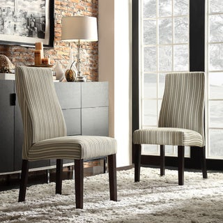 Inspire Q Kiess Colby Striped Fabric Wave Back Parson Chairs (Set of 2)