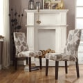 INSPIRE Q Marcey Grey Floral Wave Back Dining Chair (Set of 2)