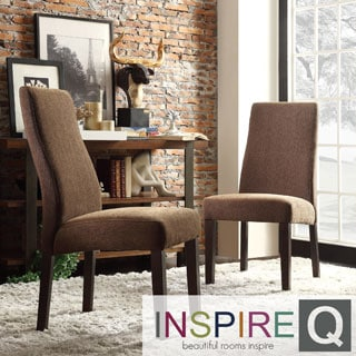 INSPIRE Q Marcey Chocolate Chenille Wave Back Dining Chair (Set of 2)