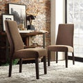Inspire Q Kiess Chocolate Chenille Wave Back Parson Chairs (Set of 2)