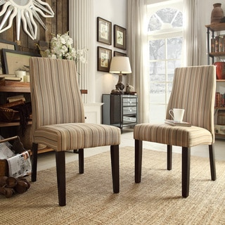INSPIRE Q Marcey Mocha Brown Stripe Wave Back Dining Chair (Set of 2)