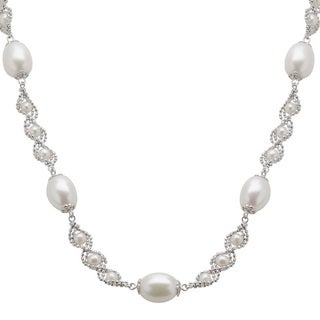 Pearls For You Sterling Silver White Freshwater Drop Pearl Lace Station Necklace (3-3.5 mm, 8-8.5 mm)