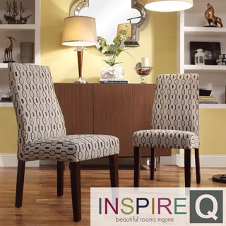 INSPIRE Q Marcey Mocha Honeycomb Wave Back Dining Chair (Set of 2)