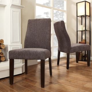 INSPIRE Q Marcey Dark Grey Chenille Wave Back Dining Chair (Set of 2)