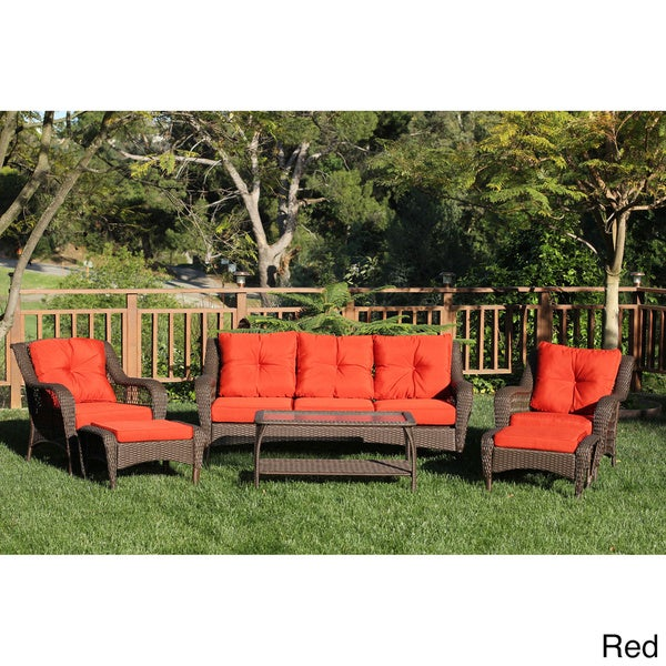 6 piece Resin Wicker Patio Conversation Set Overstock Shopping Big Discou