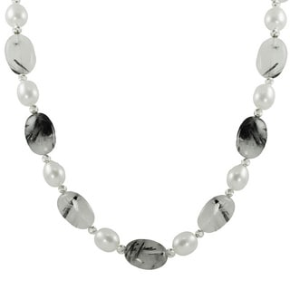 Pearls For You White Freshwater Pearl and Rutilated Crystal Quartz Necklace (7-7.5 mm)