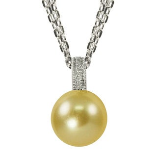 Pearls For You Golden South Sea Pearl and Diamond Accent Pendant (9-10 mm)