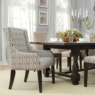 Inspire Q Kiefer Chain-link Print Sloped Arm Hostess Chair