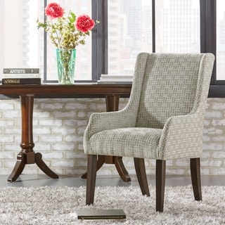 Inspire Q Kiefer Grey Bracket Chain Fabric Sloped Track Arm Hostess Chair