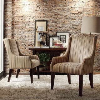 INSPIRE Q Jourdan Mocha Brown Stripe Sloped Arm Hostess Chair