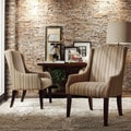 Inspire Q Kiefer Montgomery Striped Fabric Sloping Arm Hostess Chair