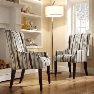 INSPIRE Q Jourdan Vertical Wavy Stripe Sloped Arm Hostess Chair