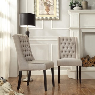 Inspire Q Alya Beige Linen Tufted Back Hostess Chairs (Set of 2)