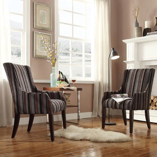 INSPIRE Q Jourdan Dark Tonal Stripe Sloped Arm Hostess Chair