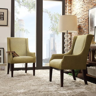 Inspire Q Kiefer Yellow-Green Linen Sloping Track Arm Hostess Chair