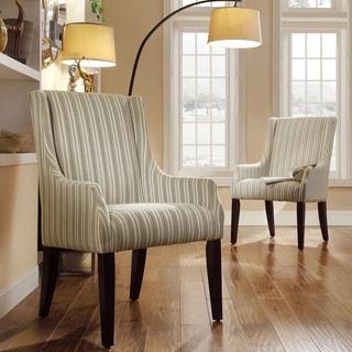 INSPIRE Q Jourdan Spring Green Stripe Sloped Arm Hostess Chair