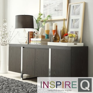 Inspire Q Buona Dark Grey Brown Metal Band Sideboard Storage Buffet Server