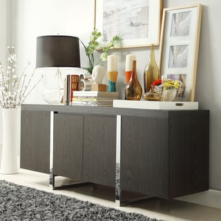 Inspire Q Buona Dark Brown Metal Band Sideboard Storage Buffet Server