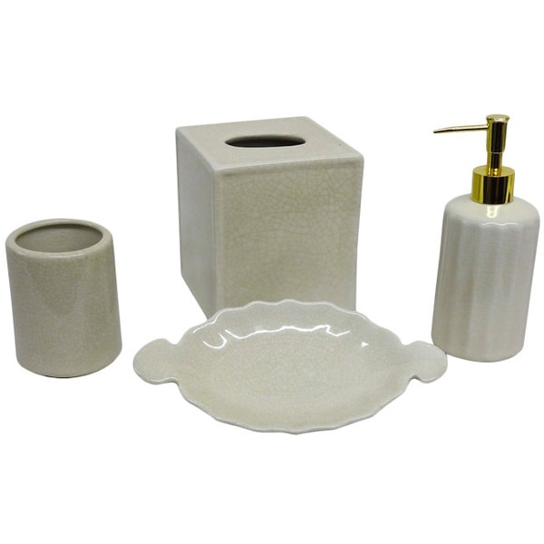 Cream Crackle Bath Accessory 4 Piece Set Overstock Shopping The Best Pric