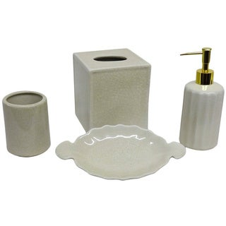 Cream Crackle Bath Accessory 4-piece Set