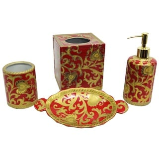 Red and Gold Scrolls Porcelain 4-piece Bath Accessory Set