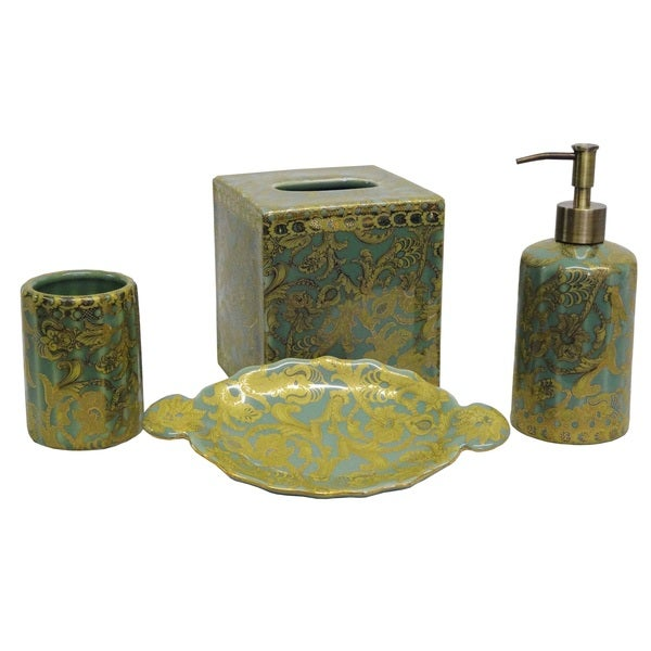 Aqua and gold scrolls bath accessory 4 piece set for Aqua bathroom accessories sets