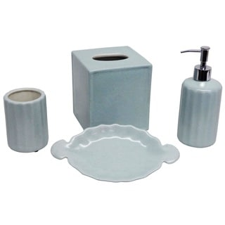 Baby Blue Porcelain 4-piece Bath Accessory Set