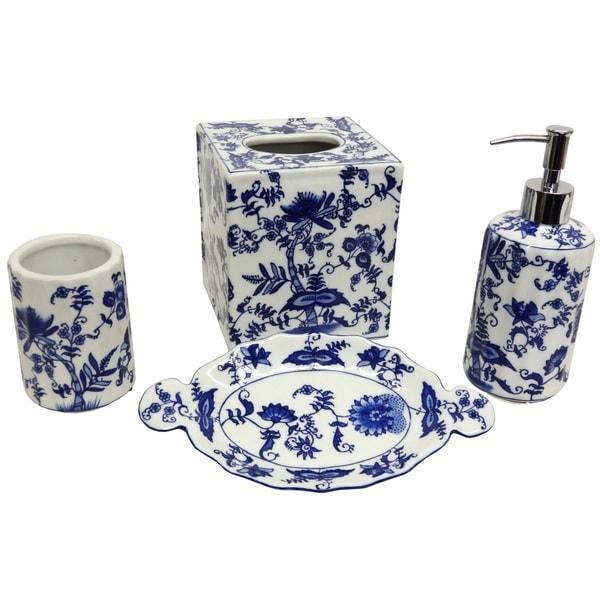 Porcelain Floral Bath Accessory 4 Piece Set 15860314