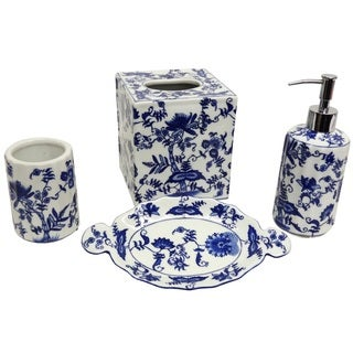 Porcelain Floral Bath Accessory 4-piece Set