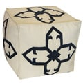 Black and White Medallion Pouf Ottoman