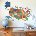 DCWV Colorful Map with Animals Wall Art