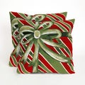 Christmas Bow Present Time Indoor/Outdoor 20-inch Throw Pillows (Set of 2)