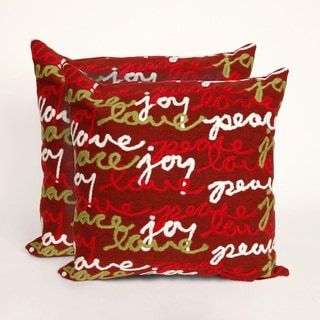 Present Time Peace Love and Joy Indoor/Outdoor 20-inch Throw Pillows (Set of 2)