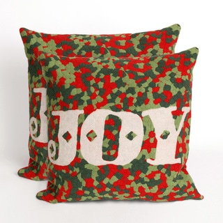 Present Time Joy Red Indoor/Outdoor 20-inch Throw Pillows (Set of 2)