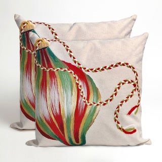 Deck The Halls Christmas Indoor/Outdoor 20-inch Throw Pillows (Set of 2)