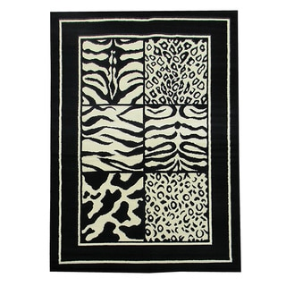 African Adveture 6-square Animal Skin Mix Black Rug (5' x 7')