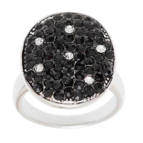 Simon Frank Silvertone Black and White Crystal Oval Ring