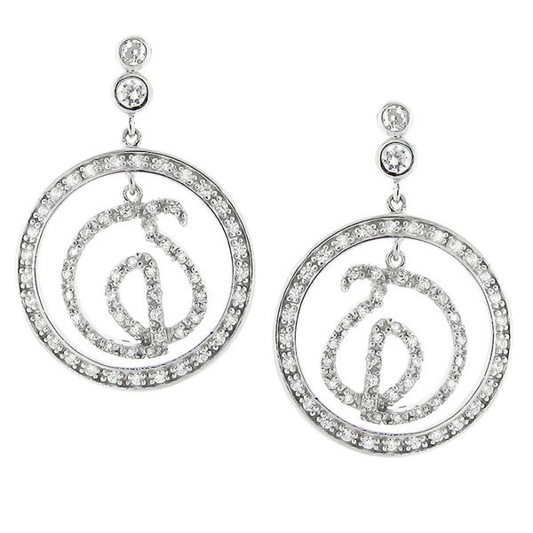 Sterling Silver and Clear Cubic Zirconia Abstract Circle Earrings