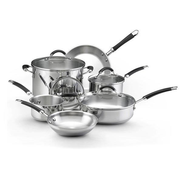 KitchenAid Stainless Steel Black Silicone-handled 10-piece Cookware Set