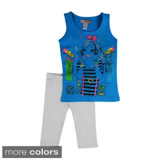 Girls 'Music Girl' Two-piece Tank and Leggings Outfit