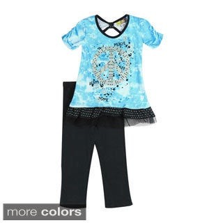 Toddler Girls Tie Dye Peace Top and Leggings Set